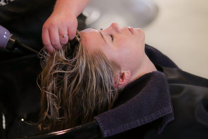 Woman getting Shiseido hair straightening