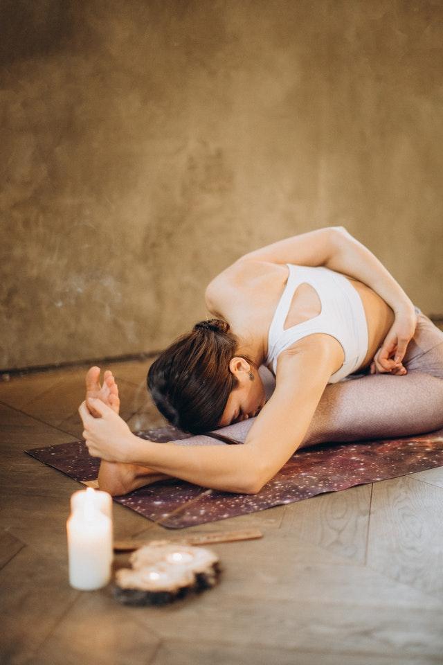 Woman while doing yoga