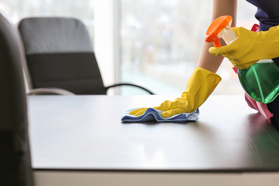 Female janitor cleaning